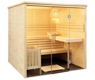 Fínska sauna Vulkán, sklenené priečelie, 208x208