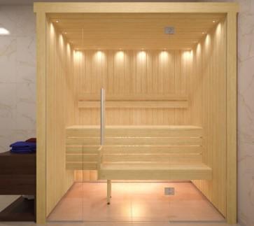 Fínska sauna, hemlock, sklenené priečelie, 180x120