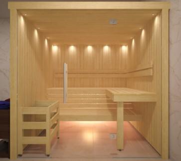 Fínska sauna, hemlock, sklenené priečelie, 200x200
